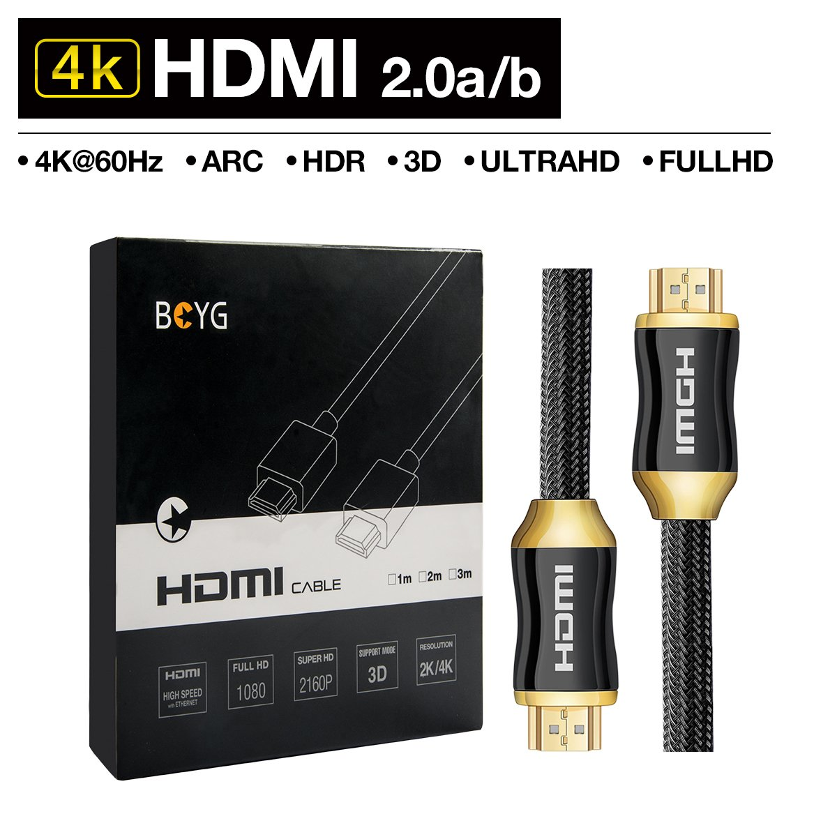 Premium 4K HDMI Cable 2M HighSpeed HDMI 2.0a / b Cable,Compatible con 4K Ultra HDTV 2160P,Full HD 1080P, HDR,3D,ARC,CEC,Ethernet,Blue-ray,Soporte para TV,PC,Laptop,PS3,PS4,Xbox,Wii