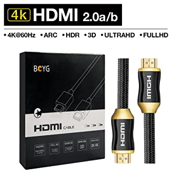 Premium 4K HDMI Cable 1 5M HighSpeed HDMI 2 0a/b Cable,Compatible with 4K  Ultra HDTV 2160P, Full HD 1080P,HDR,3D,ARC,CEC,Ethernet,Blue-ray,Support  for