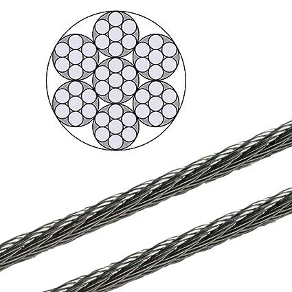 50m Edelstahl Drahtseil 7x19 TOP WARE Stahlseil Seil Draht Stahl V4A INOX A4 rostfrei Gel/änder Edelstahlseil DQ-PP 4mm