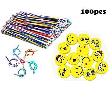 Lápiz Flexible Bendy Lápices Curva de Mágic Emoji Smiley Emoticon Rubber Eraser Gomas Borrador Artículos Cumpleaños Piñata Bolsa Rellenos Regalo ...