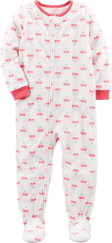 Carters Baby Girls 12M-24M One Piece Heart Fleece Pajamas