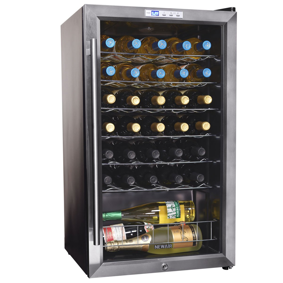 NewAir Wine Cooler and Refrigerator, 27 Bottle Freestanding Wine Chiller Fridge, Stainless steel with Glass Door, AWC-270E