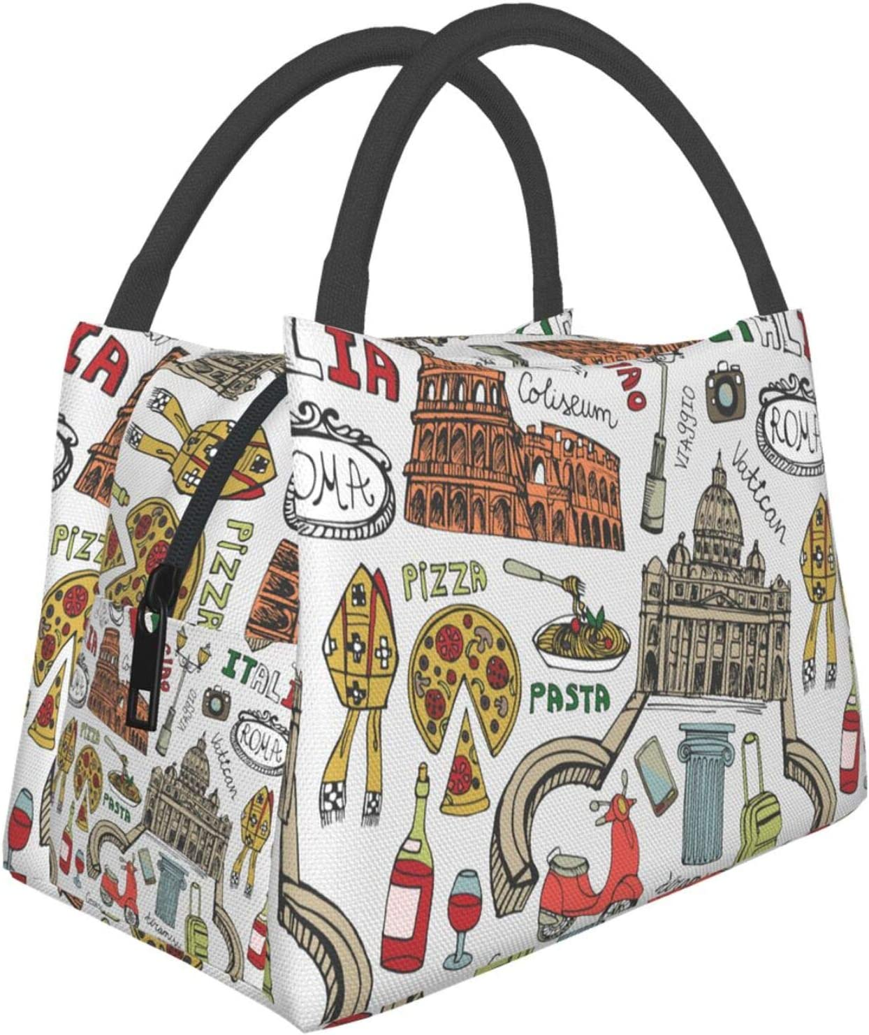 Italian Rome Art Portable Leak-Proof Lunch Bag, Waterproof Large-Capacity Lunch Handbag,Cartoon Food And Building Pattern Insulated Heat Insulation Insulation Bag