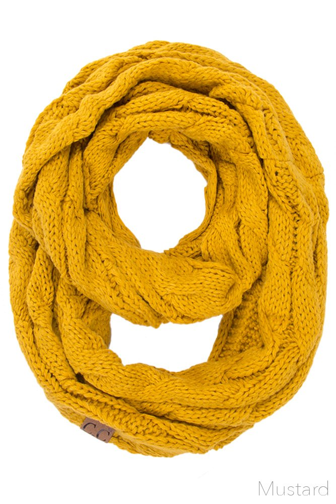 ScarvesMe CC Women Fashion Knitted Weaved Infinity Loop Scarf (Mustard)