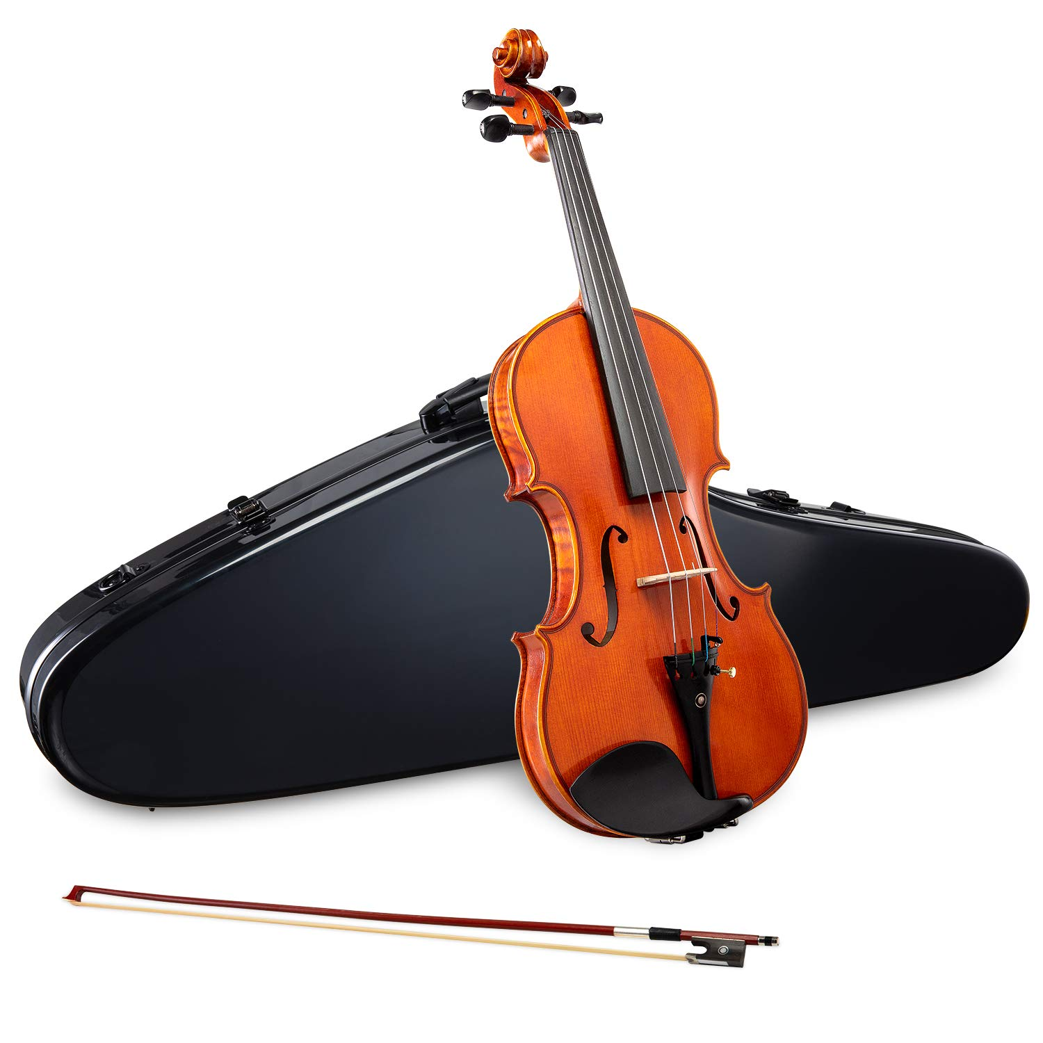 LyxJam Premium Full Size Violin Set - 4/4 Maple/Spruce Violin Kit for Beginner & Intermediate Players, Rosin, Black Hard Carry Case w/Hygrometer & Strap