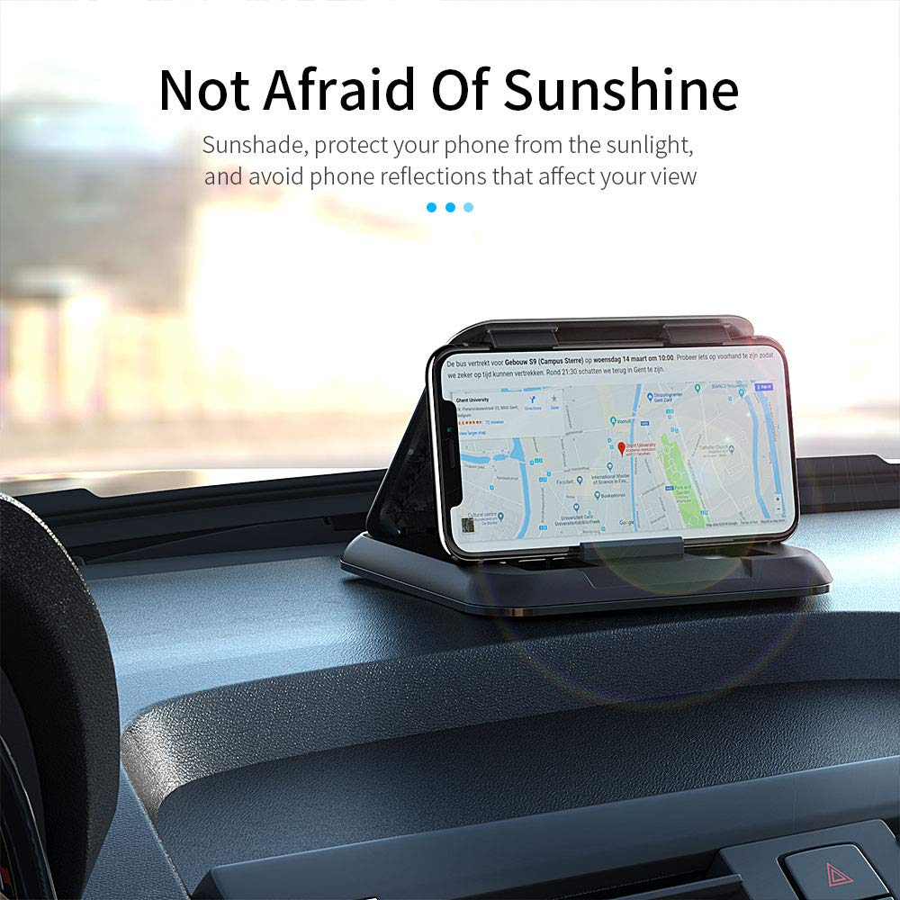 Cell Phone Sunshade car Holder Dashboard Anti-Slip Vehicle GPS Car Mount Universal for All Smartphones Silver
