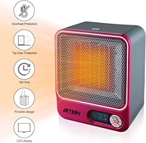 JETERY 1500W PTC Space Heater, Heating System for Bedroom & Office, Portable Electric Heater with Adjustable Thermostat - Overheat Protection, Rose