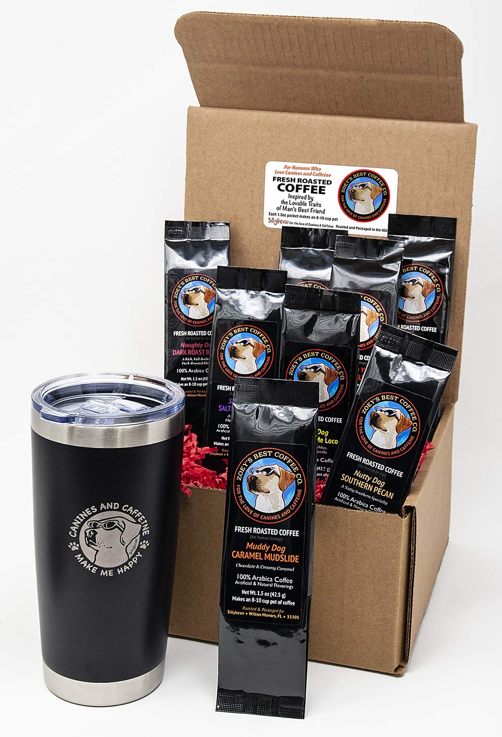 Sillybean Best Dog Lover Coffee Lover Funny Gift Sampler Set with 20 oz Stainless Steel Double Wall Insulated Tumbler and Ground Coffee