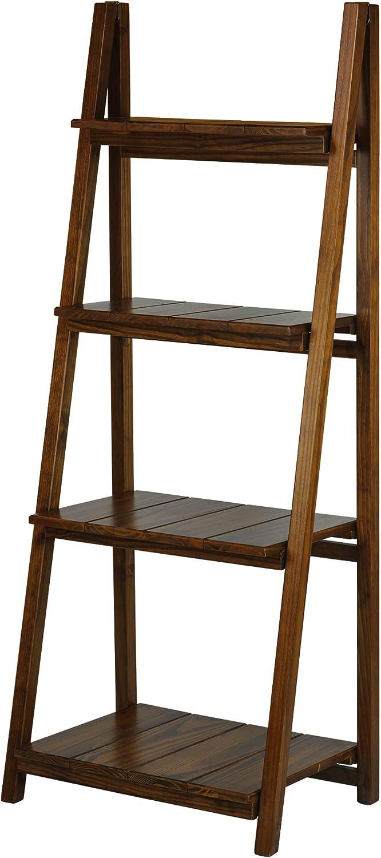 Casual Home Manhasset Slatted 4-Shelf Folding Bookcase-Warm Brown
