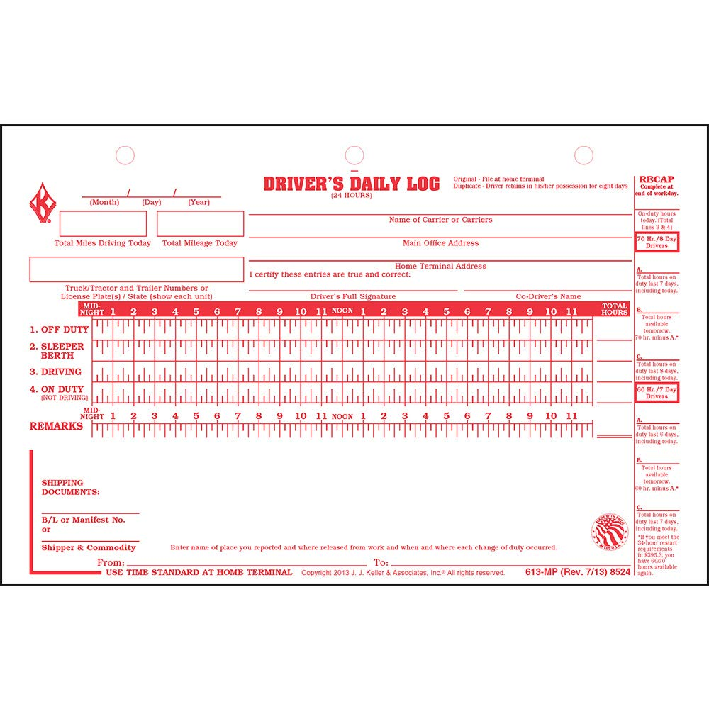 J 31 Sets of Forms Per Unit Deluxe Duplicate Driver Daily Log 10-pk with Detailed DVIR /& Daily Recap Keller /& Associates Shrinkwrapped Loose-Leaf Format J 2-Ply with Carbon 8.5 x 5.5