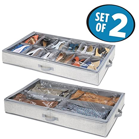 mDesign Juego de 2 cajas para debajo de la cama – 2 organizadores de zapatos,