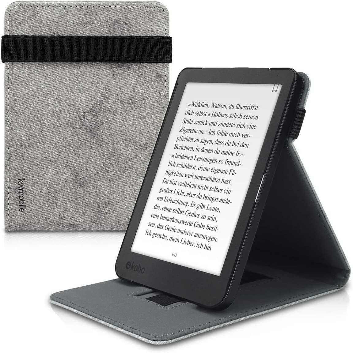 kwmobile Cover Compatible with Kobo Clara HD - PU Leather e-Reader Case - Watercolor Grey
