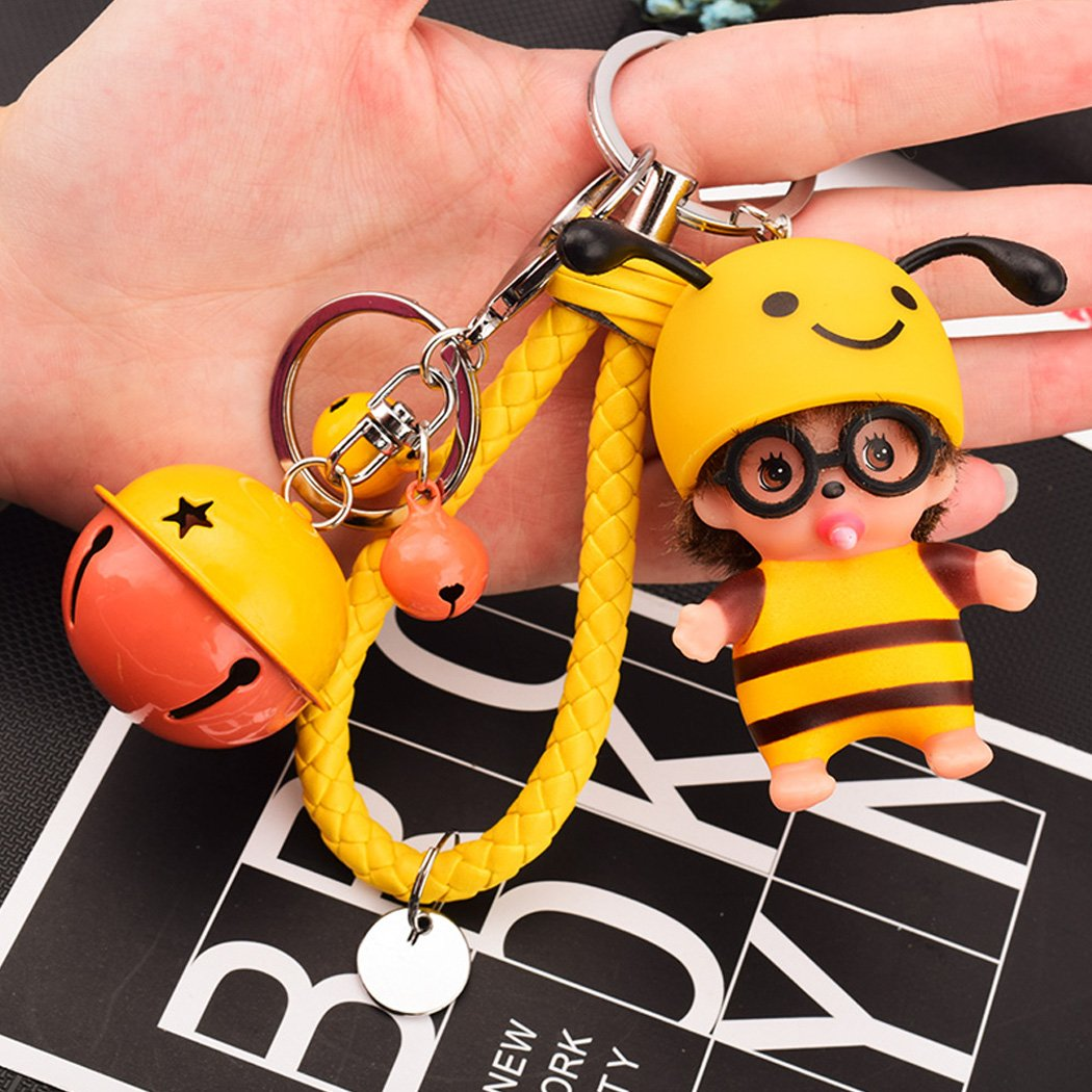 Cute Doll Keychain for Car Keyring Doll Cartoon Key Ring Bag Charms With Golden Keyring si ying 01 Blue Charm Gift