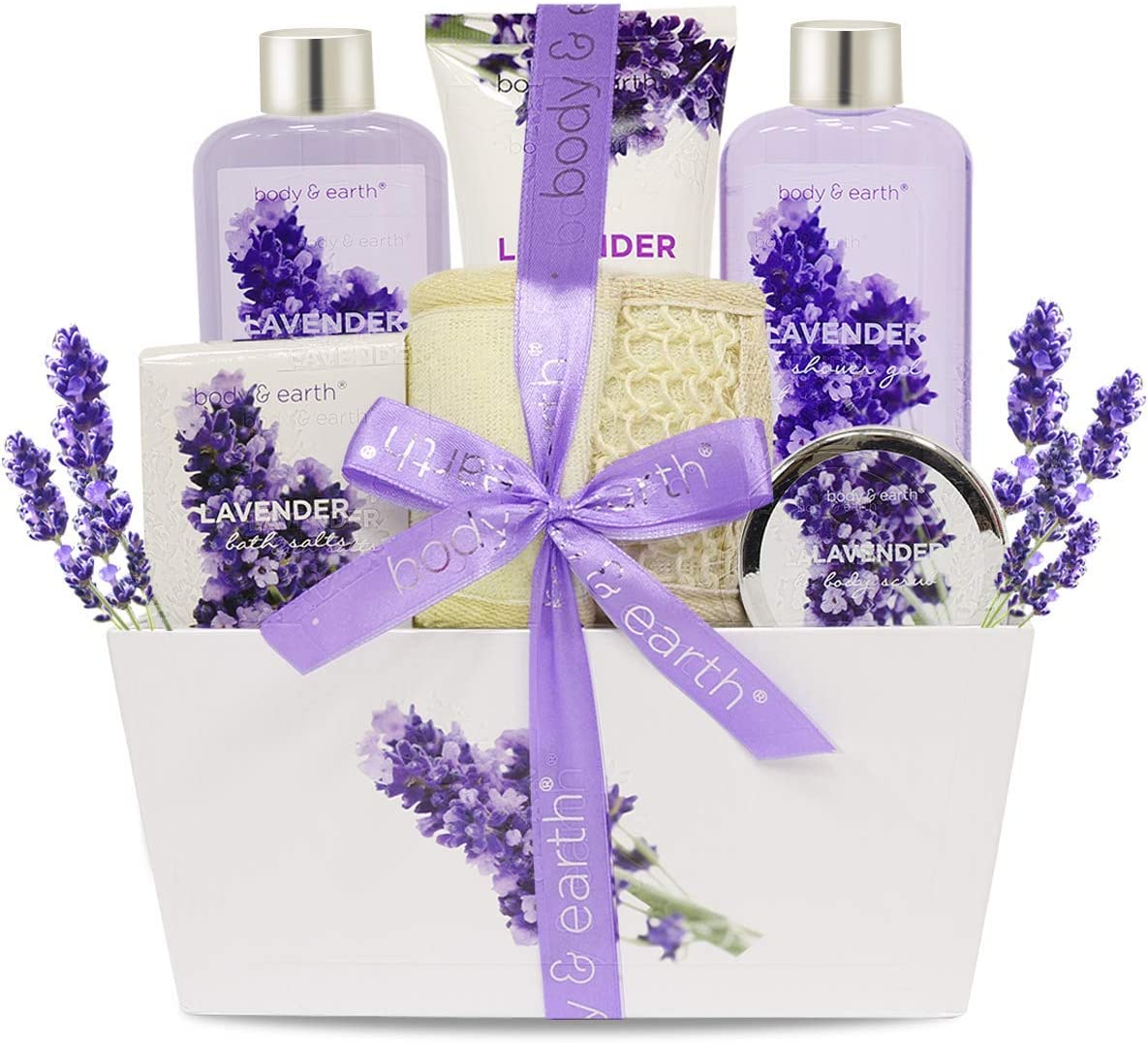 BODY & EARTH Set de baño y ducha: Canasta de regalo Fragancia de lavanda de 6 piezas Set de regalo de spa para mujeres, contiene gel de ducha, baño de burbujas, loción corporal, sal de baño