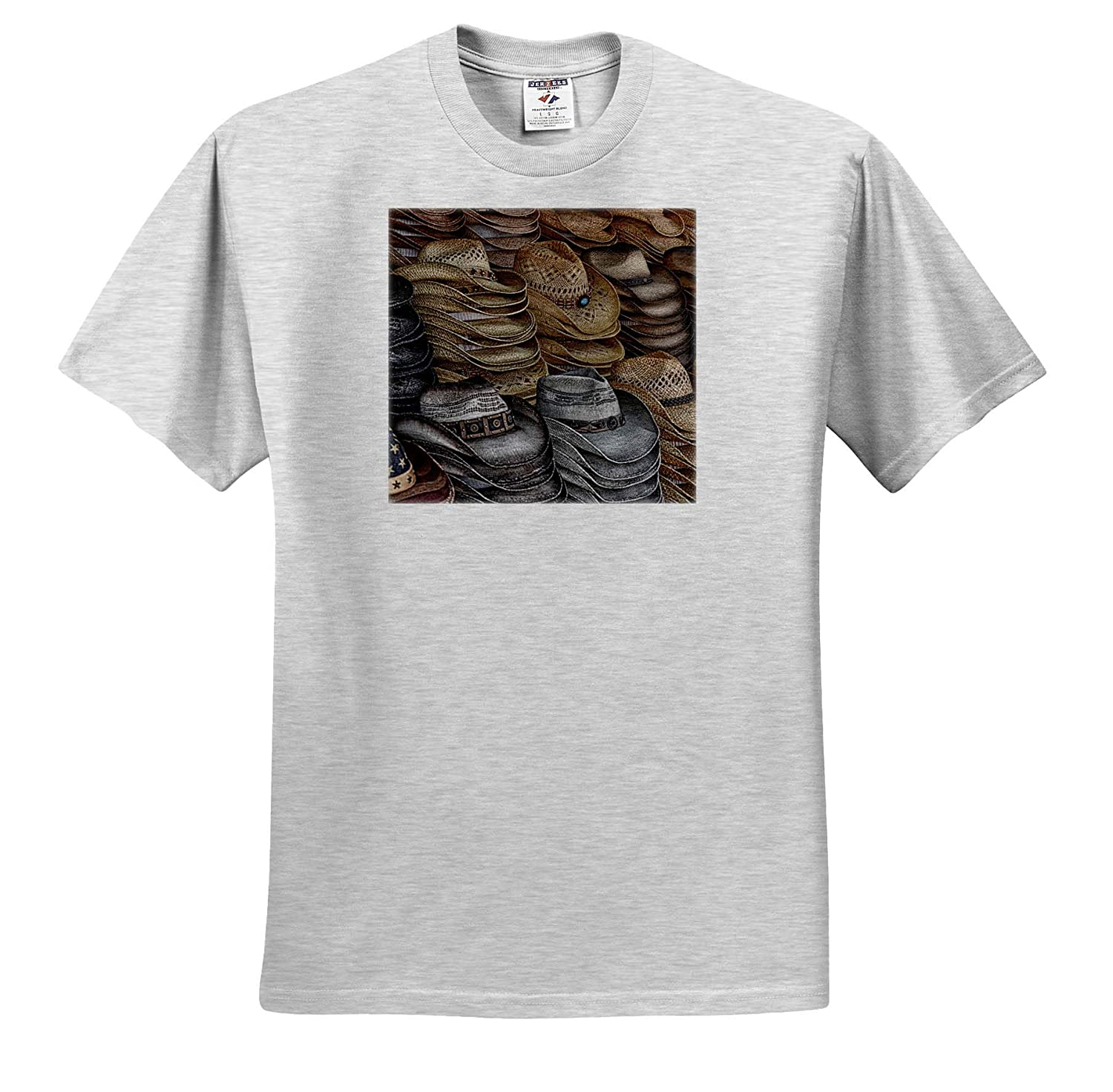 3dRose Susans Zoo Crew Scenery T-Shirts Stacks of Straw cowbody Western Hats