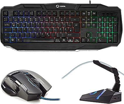 Combusters XXL Gaming Set de teclado iluminado USB + 4000 DPI ...