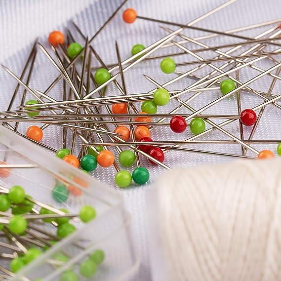 WOWOSS 1000 St/ück Glaskopfnadeln N/ähen und Handwerk zum N/ähen Projektdekoration 10 farbige Stecknadeln Glaskopfstecknadeln Pin f/ür Schmuck Herstellung Buntkopfnadeln 38mm