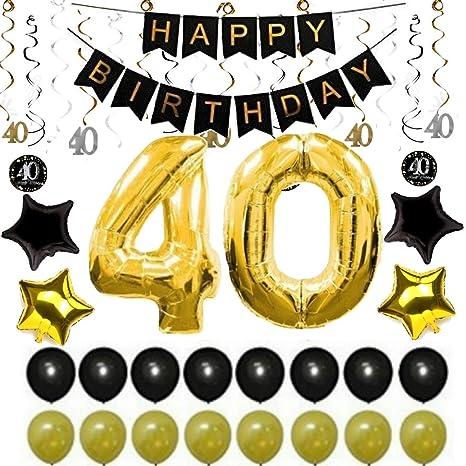 Pack de 40 decoraciones para fiesta de cumpleaños, color ...
