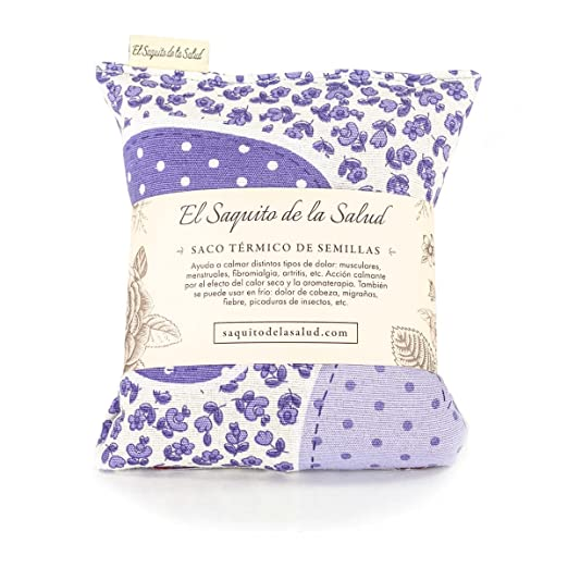 Saco Térmico de Semillas aroma Lavanda, Azahar o Romero tejido Flores Lilas (Azahar, 23 cm)