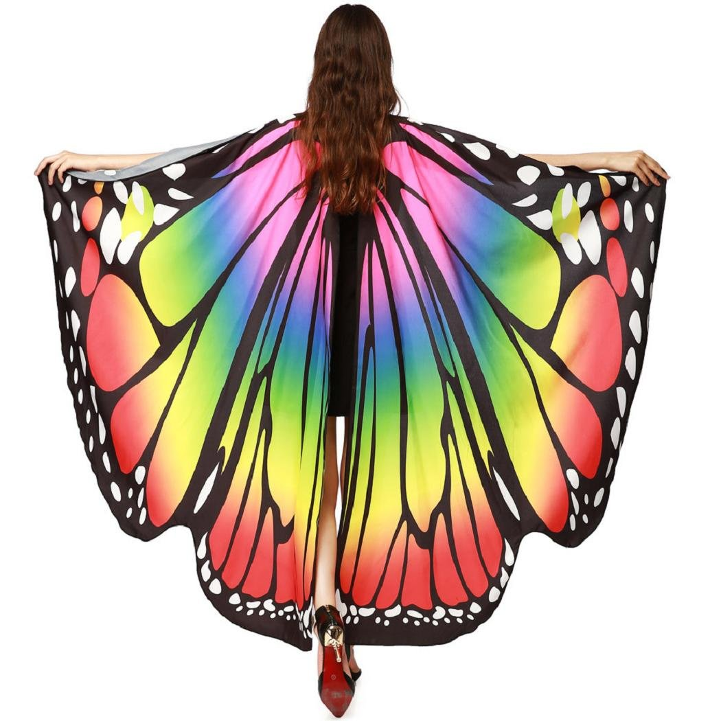 ShenPr Women Novelty Chiffon Butterfly Wings Peacock Wings Shawl Fairy Nymph Pixie Costume (02_Multicolor)