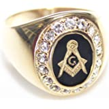 AH! Jewellery Men's Jet Centre Stoned 'G' Crested 24K Gold Over Stainless Steel Ring Set With Brilliant Rounds. LAB Created Diamionds. 7.9GR Total Ring Weight. Excellent Qaulity.