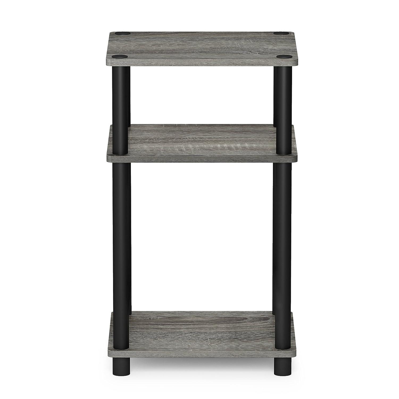 French Oak Grey//Black 1-Pack FURINNO 11087GYW//BK JUST Turn-N-Tube 3-Tier End Table