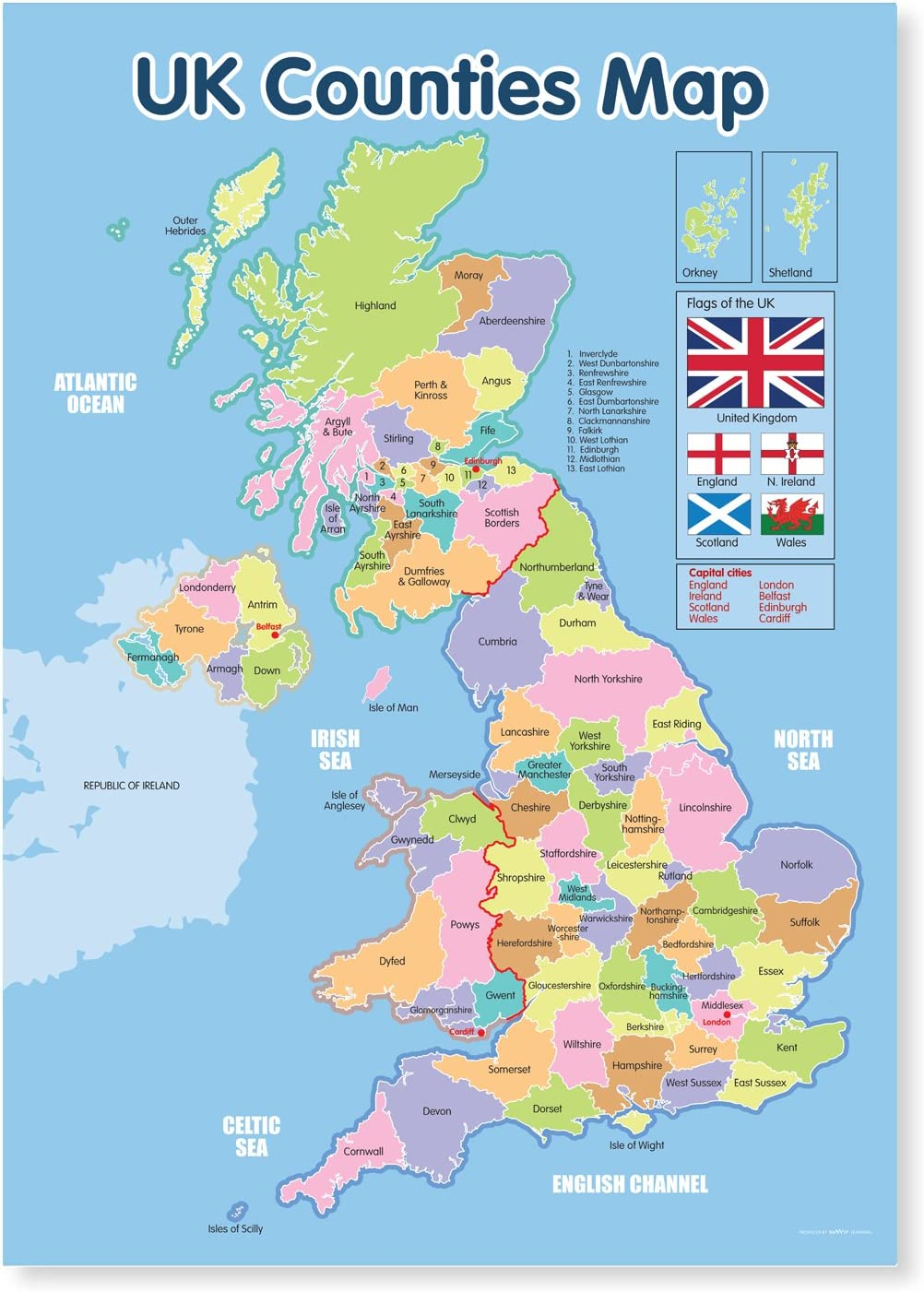 A3 Laminated Uk Counties Map Poster Amazon Co Uk Office Products