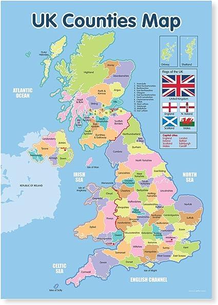 Mapa de pared educativo con los condados de Reino Unido, plastificado, tamaño A3: Amazon.es: Oficina y papelería