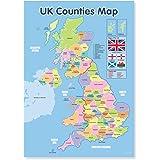 A3 Laminated UK Counties Map Educational Wall Chart