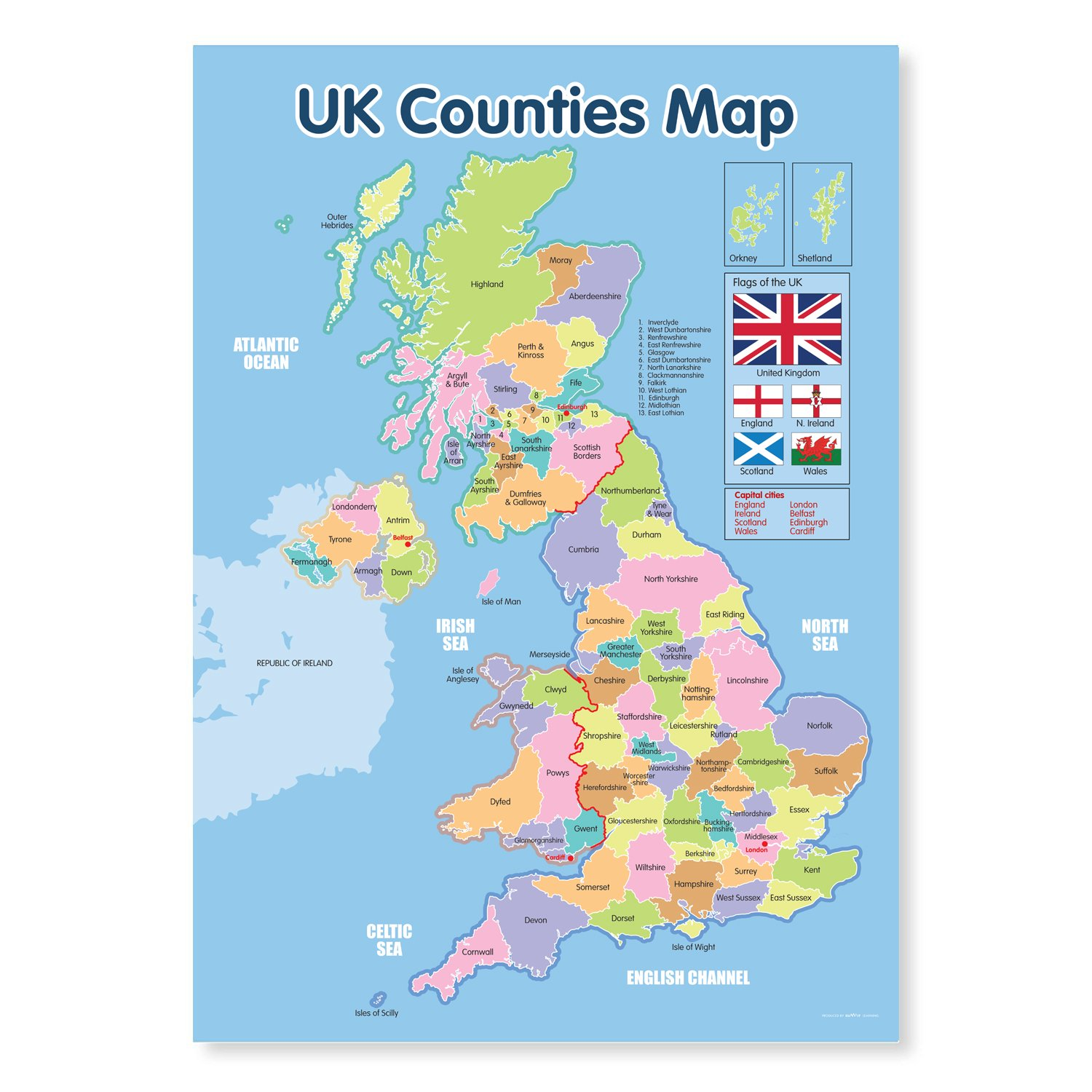 Map Of Uk 1500.A3 Laminated Uk Counties Map Educational Poster Amazon Co Uk