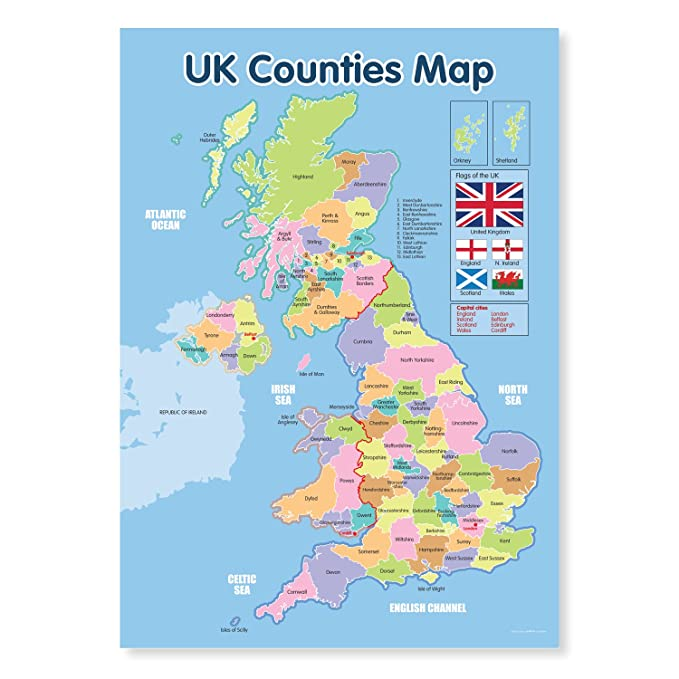 A3 Laminated Uk Counties Map Educational Poster Amazon Co Uk