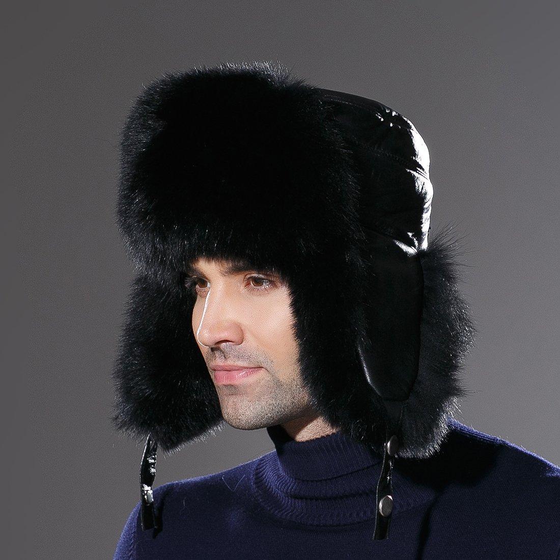 URSFUR Winter Russian Fur Hat Mens Real Fox Fur Ushanka Trapper Cap Black by URSFUR (Image #7)