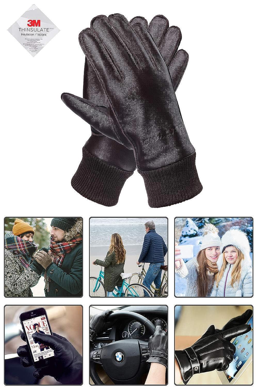 Guanti Moto Aoto invernali Pelle Genuina con foderata in peluche e finitura a maglia Harrms Guanti Touch Screen Uomo