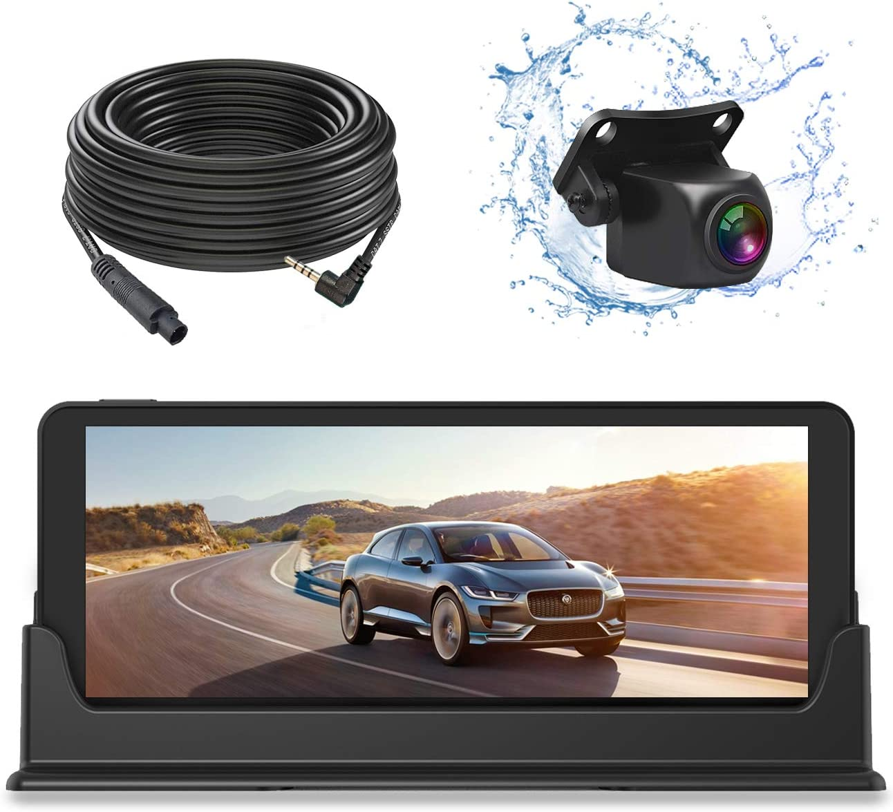 JUSTONE 1080P HD Upgrade Backup Camera and Monitor Kit 7 inch Widescreen for Car SUV Truck Pickup with 49ft Long Wired Rear Camera with Parking Guideline