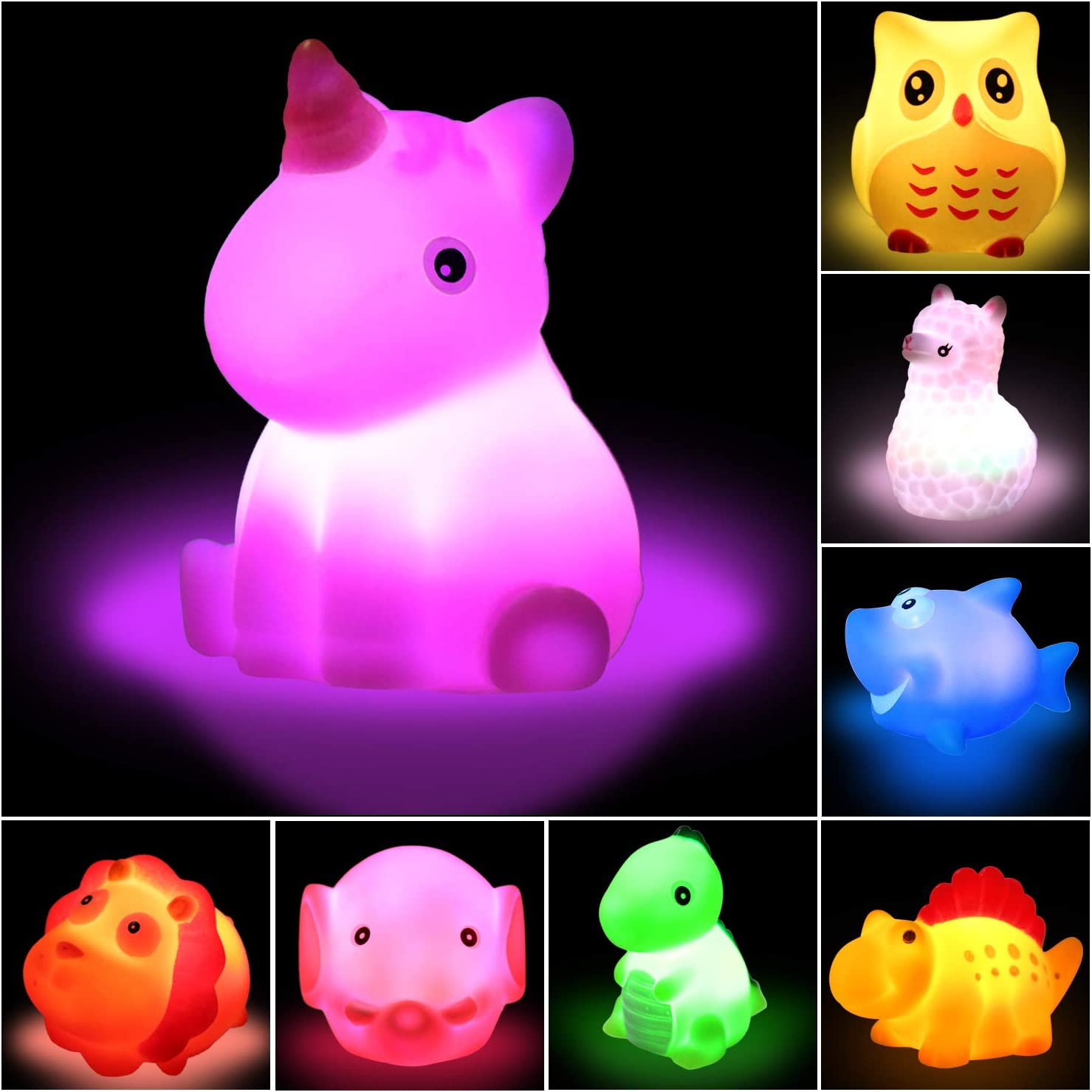 Baby Swimming Pool Toys Early Learning Toys for Baby Infants Kids Toddler 8 Pcs Flashing Color Bathtub Toys Set//Floating Animal Bathroom Toy Lictin Light Up Baby Bath Toys