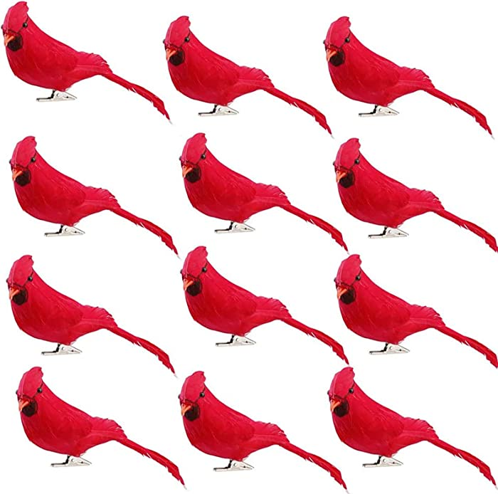 Develoo 12PCS Artificial Christmas Cardinal Birds Simulation Foam Bright Red Feather Small Birds Clip on Christmas Tree Ornaments Fake Stand Bird Craft for Home Wedding Decoration