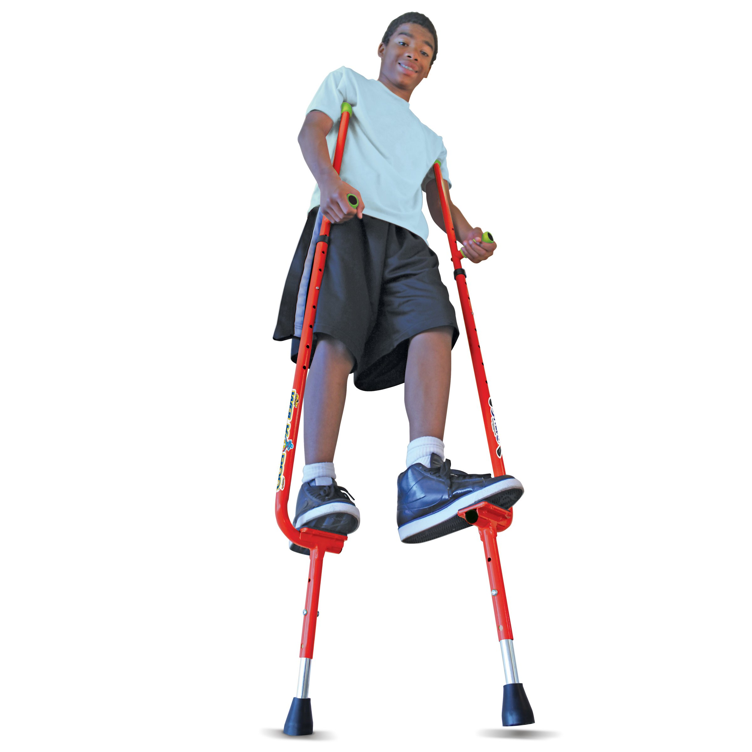 Geospace Original Walkaroo Xtreme Steel Balance Stilts with Height Adjustable Vert Lifters by Air Kicks, RED by Geospace