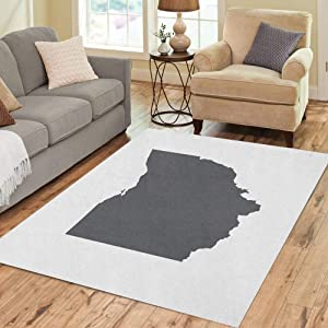 Pinbeam Area Rug Cleveland Ohio Grey State Border Map Toledo Abstract Home Decor Floor Rug 3' x 5' Carpet