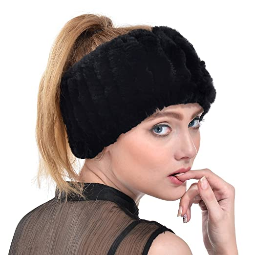 Rabbit Fur Headband - Winter Knit Neck Warmer Real Fur Headbands Women  Scarf Muffler (Black c10714b9998