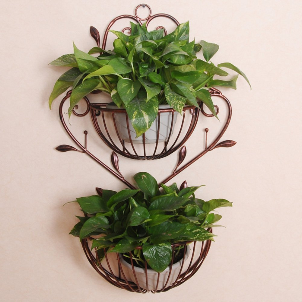 Iron flower stand flower rack display shelf plant stand planter flower shelf plant rack european-Style wall-Mounted double flower pot rack living room balcony scindapsus-B