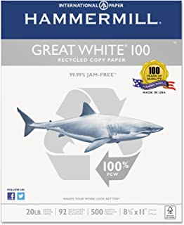 product image for Great White 100 Recycled Copy Paper, 20lb, 8-1/2 x 11, White, 5,000 Sheet/Carton