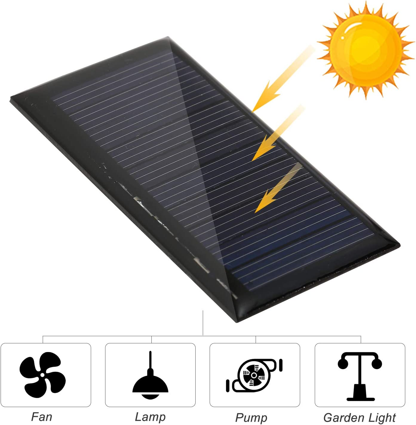 Gecheer Panneau Solaire Module Module Solaire,Solaire Cellule Solaire photovolta/ïque 0.3 W 5 V Panneau Solaire Id/éal Batterie Ext/érieur pour Jardin 3.7 V Batterie Jouets Lampe Pompe de Ventilateur