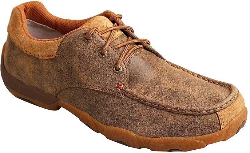 Twisted X Mens Smooth Leather Driving Mocs Moc Toe Brown