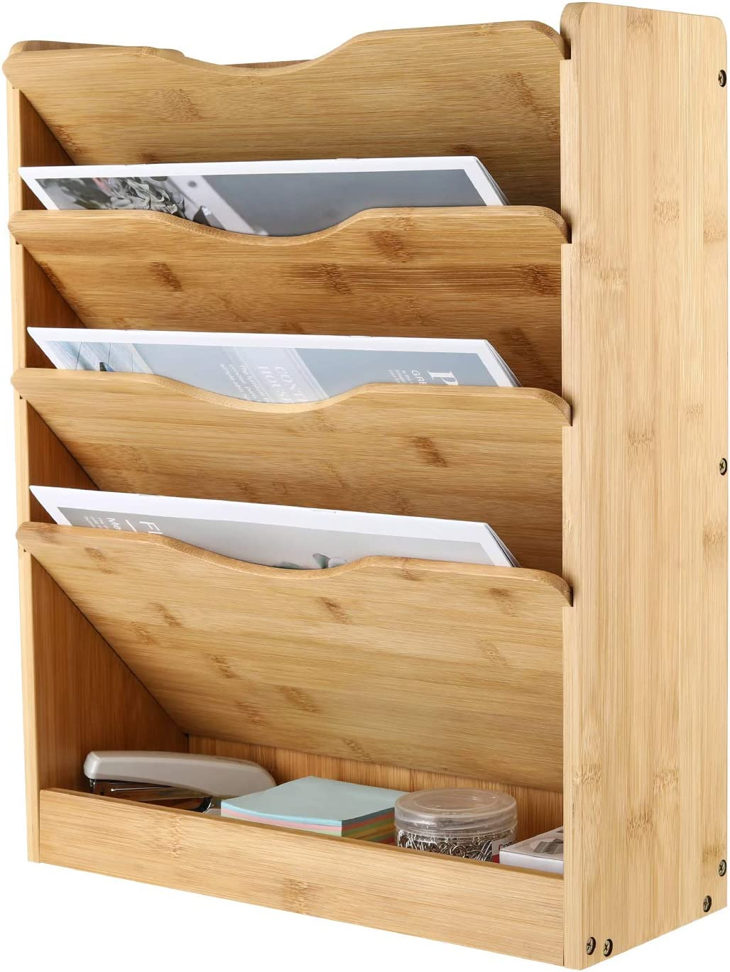 TQVAI Natural Bamboo Wall File Holder Organizer 5 Tier Hanging Magazine Rack Vertical Desktop Supplies Storage Upright - Original
