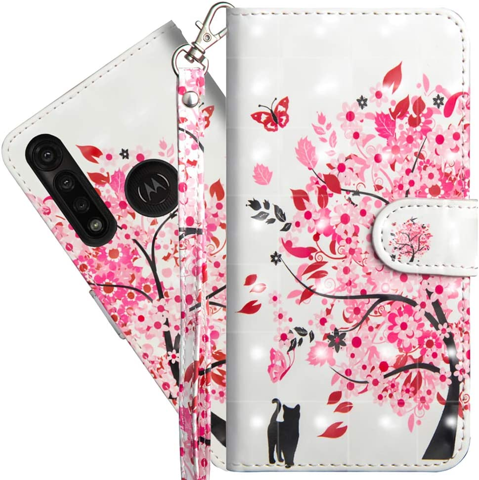 Asdsinforu Motorola Moto G Power Case 3D Full Stylish Wallet Case Credit Cards Slot with Stand for PU Leather Shockproof Flip Magnetic Case for Moto G8 Power(US Verson) Tree Cat YX