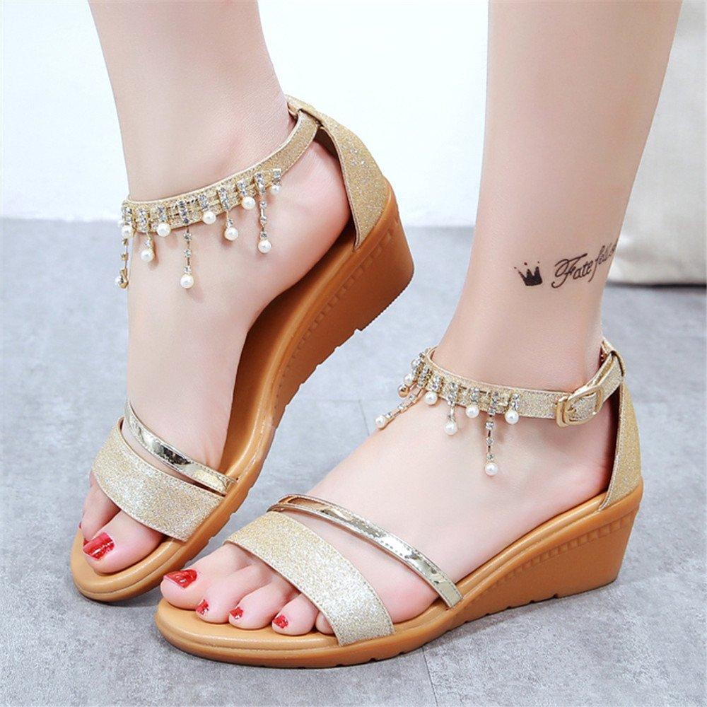 Hang Mit Weiblichen Sandalen Quaste Pailletten Damen Gold Schuhe Gold Damen e70aad
