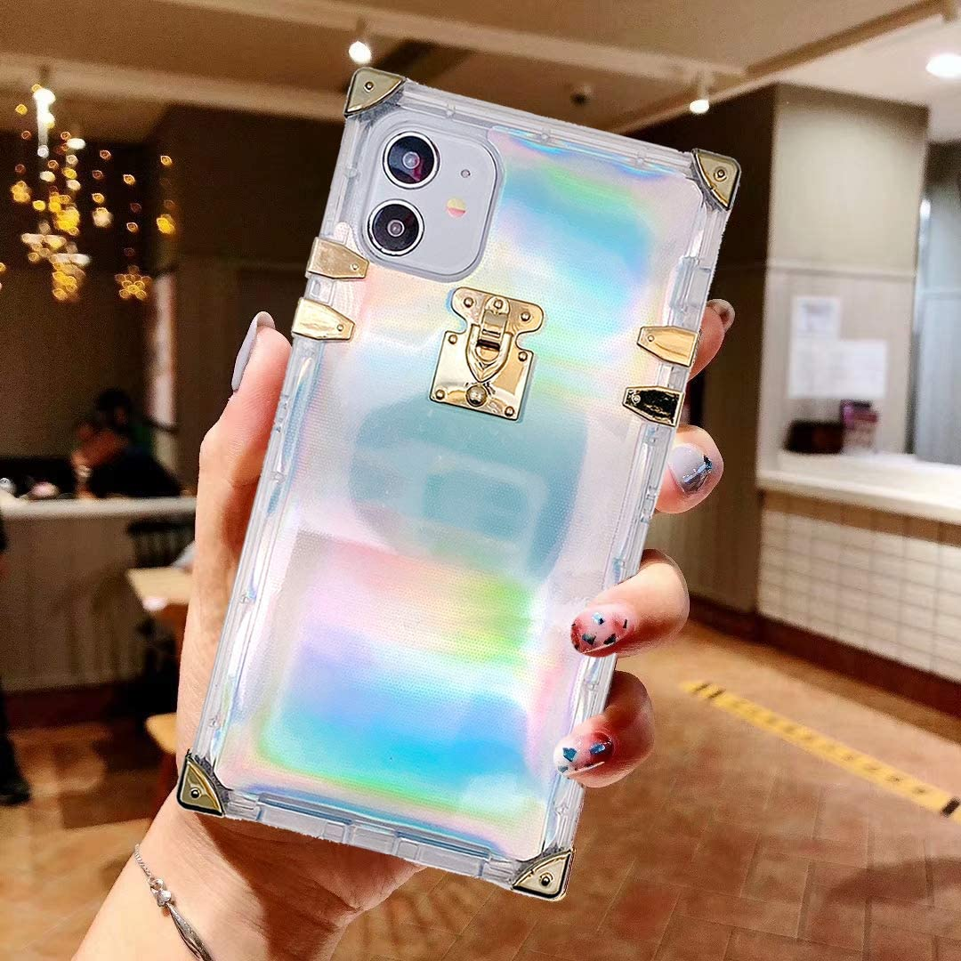 BABEMALL Compatible for iPhone 6 / 6s /iPhone 7 /iPhone 8 Case, Luxury Square Sparkle Glitter Light Silver Shell Transparent TPU Phone Metal Corner Case (Laser)