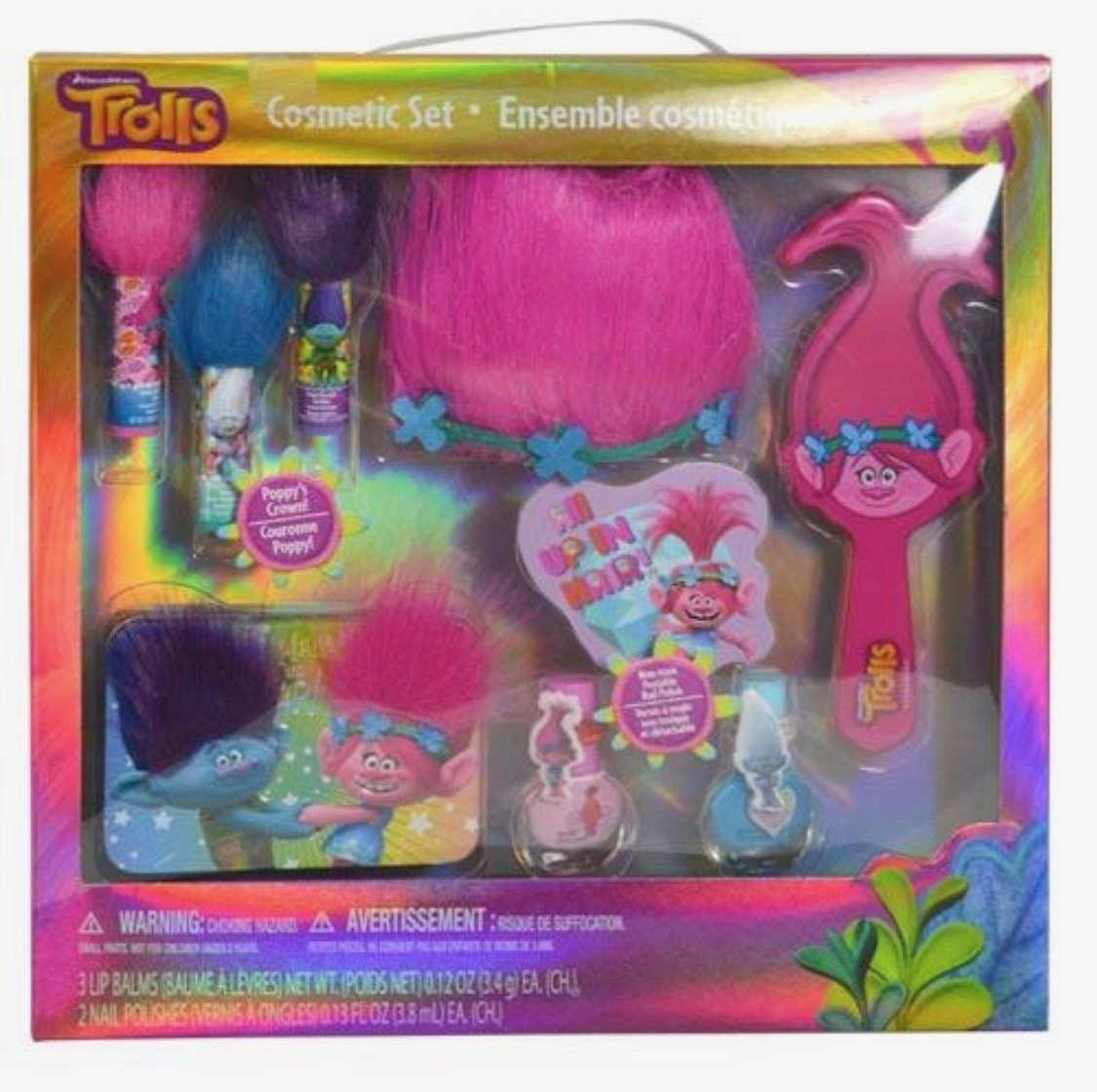 Trolls Complete Girls Hair & Cosmetics 10 Pieces Gift set In a Box | With Lip Balms, Nail Polishes & Accessories