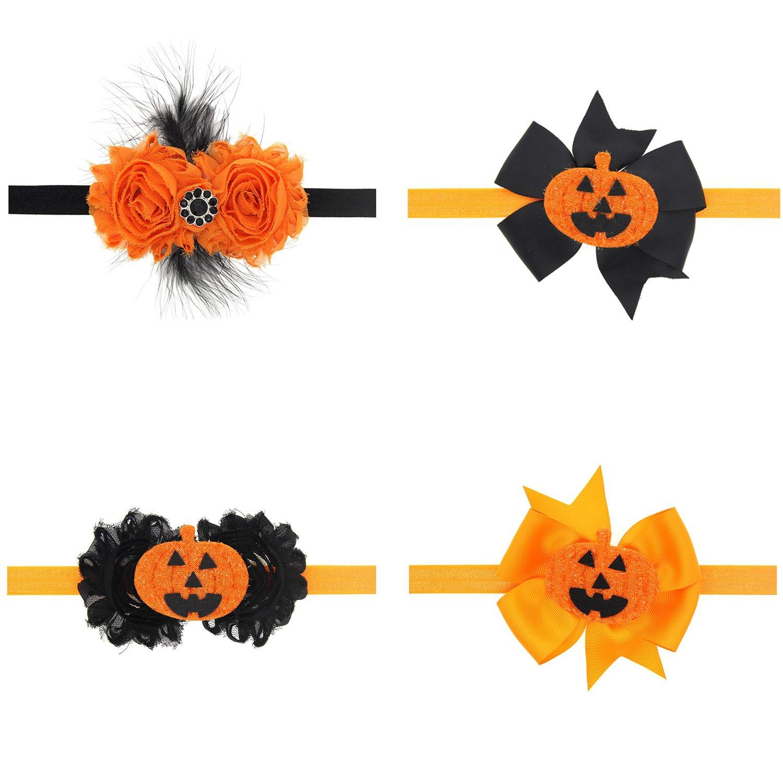txian Halloween bebé accesorios para el pelo Rhinestone diadema y calabaza diadema elástica gorro de invierno para niños y flores infantil Pack de 4 1243