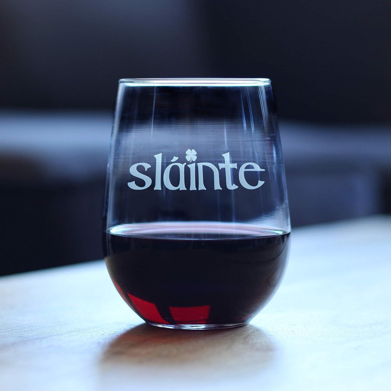 Saint Pattys Decorations Funny St Patricks Day Party Stemless Wine Glasses Irish Cheers Slainte